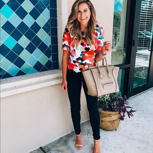 Calico print cropped multicolor blouse